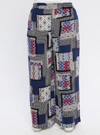 Navy Blue - Multi - Cotton - Plus Size Pants