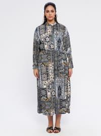 Gray - Multi - Unlined - Point Collar - Cotton - Plus Size Dress