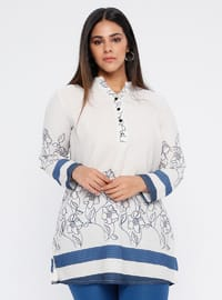 Blue - Multi - Crew neck - V neck Collar - Plus Size Tunic