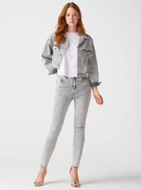 Gray - Stripe - Denim - Pants