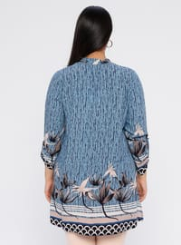 Blue - Multi - Crew neck - Viscose - Plus Size Tunic