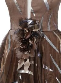 Brown - Stripe - Fully Lined - V neck Collar - Muslim Evening Dress