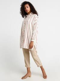 Ecru - Terra Cotta - Stripe - Point Collar - Cotton -  - Tunic