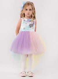 Multi - Crew neck - Fully Lined - Purple - Mint - Girls` Dress