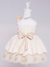 Crew neck - Fully Lined - Beige - Girls` Dress