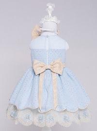 Crew neck - Fully Lined - Blue - Girls` Dress