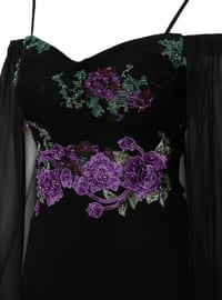 Black - Lilac - Unlined - V neck Collar - Muslim Evening Dress
