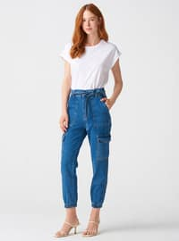 Navy Blue - Denim - Pants