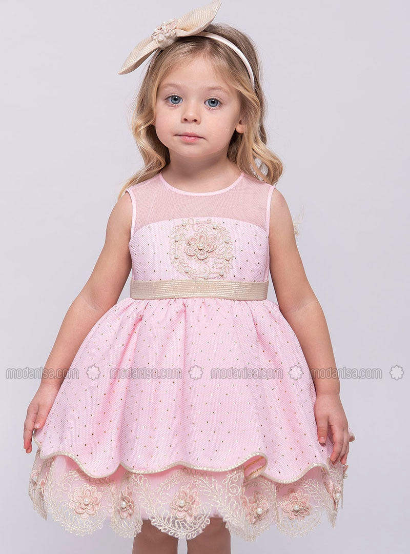 Crew neck - Fully Lined - Pink - Girls` Dress