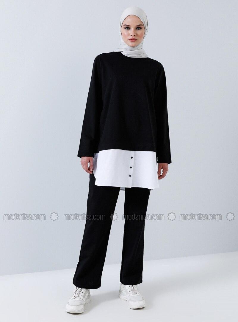 White - Black - Unlined -  - Suit