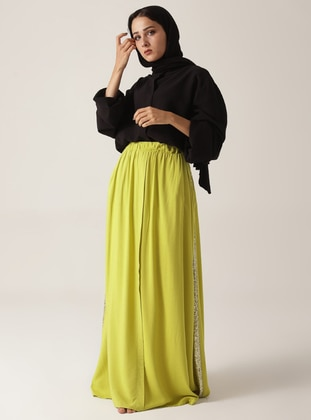 Green - Fully Lined - Cotton - Skirt