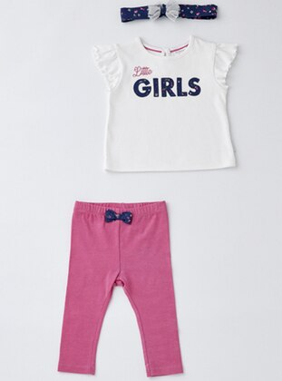 Crew neck - Cotton - Unlined - White - Pink - Baby Suit