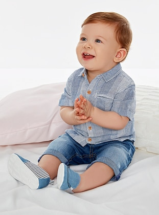 Cotton - Denim - Navy Blue - Baby Pants