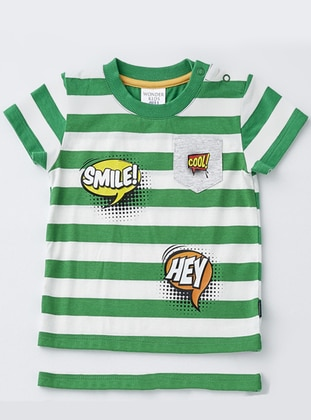 Stripe - Crew neck - Cotton - Green - Baby Body - Wonder Kids