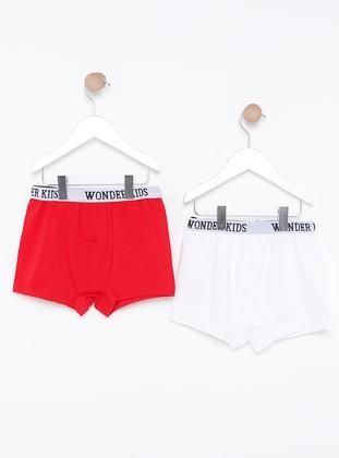 - Unlined - White - Red - Kids Underwear
