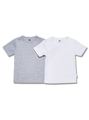 Crew neck - Cotton - White - Gray - Boys` Suit