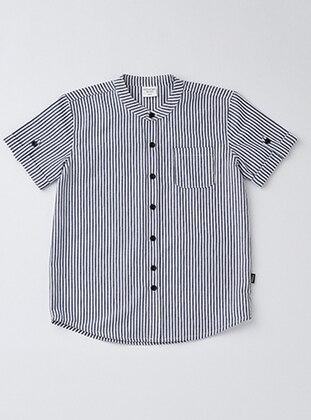 Point Collar - Cotton - White - Gray - Boys` Shirt