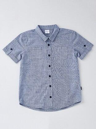 Point Collar - Cotton - Navy Blue - Boys` Shirt