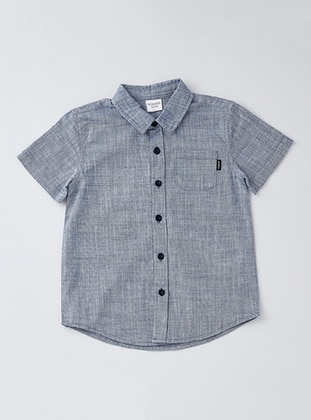 Point Collar - Cotton - Unlined - Navy Blue - Boys` Shirt