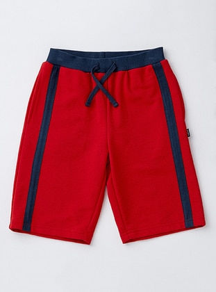 Cotton - Red - Boys` Shorts