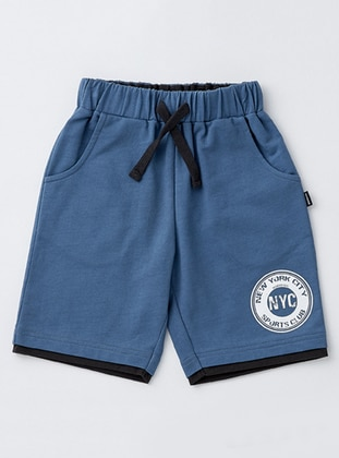 Cotton - Unlined - Blue - Boys` Shorts - Wonder Kids
