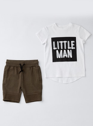 Crew neck - Cotton - Unlined - White - Ecru - Khaki - Boys` Suit