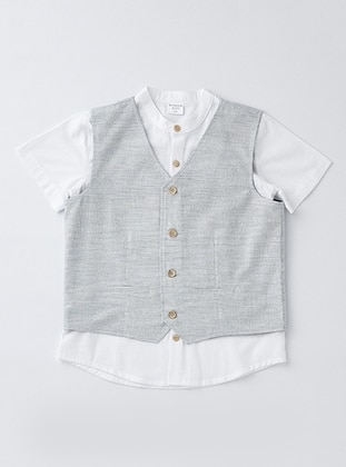 Stripe - Point Collar - Cotton - Blue - Boys` Suit