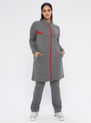 Anthracite - Combed Cotton - Plus Size Tracksuit - MODAGÜL