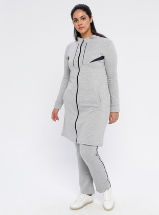 Gray - Combed Cotton - Plus Size Tracksuit