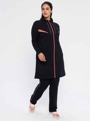 Navy Blue - Combed Cotton - Plus Size Tracksuit