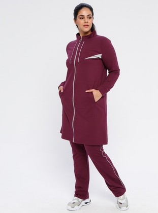 Plum - Combed Cotton - Plus Size Tracksuit - MODAGÜL