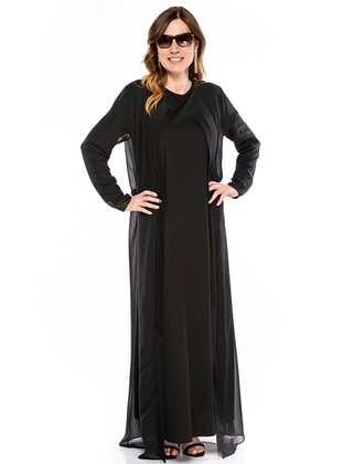 Black - Crew neck - Unlined - Cotton - Plus Size Suit