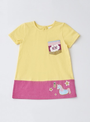 Crew neck - Cotton - Yellow - Baby Dress