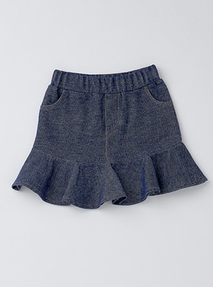 Cotton - Unlined - Navy Blue - Girls` Skirt