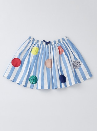 Stripe - Cotton - Unlined - Blue - Girls` Skirt