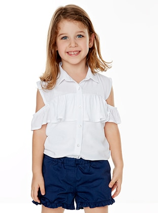 Point Collar - Cotton - Viscose - Unlined - White - Ecru - Girls` Shirt