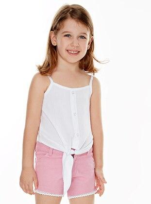 Sweatheart Neckline - Cotton - Viscose - Unlined - White - Ecru - Girls` Shirt