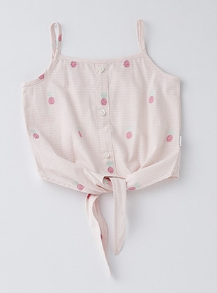 Polka Dot - Sweatheart Neckline - Cotton - Unlined - Pink - Girls` Shirt