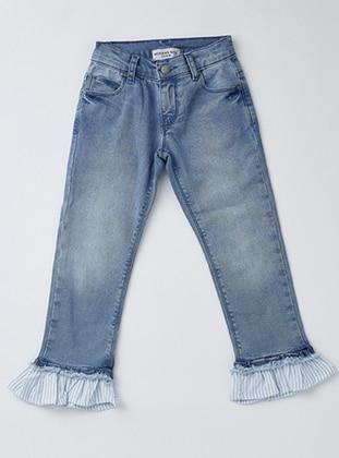 Cotton - Unlined - Navy Blue - Girls` Pants - Wonder Kids