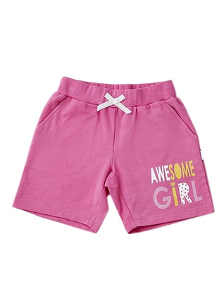 Cotton - Unlined - Pink - Fuchsia - Girls` Shorts
