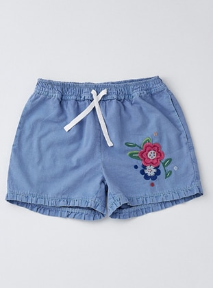 Cotton - Navy Blue - Girls` Shorts - Wonder Kids