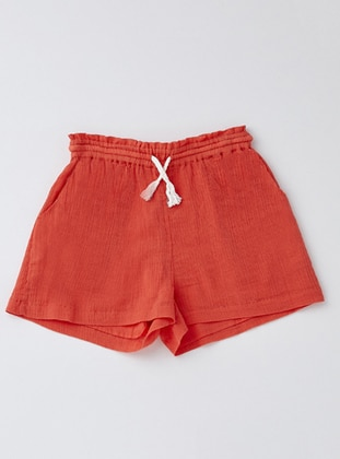 Cotton - Coral - Girls` Shorts