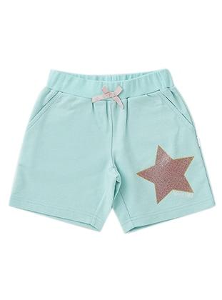 Cotton - Unlined - Mint - Girls` Shorts