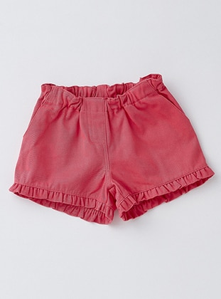 Cotton - Unlined - Pink - Coral - Girls` Shorts