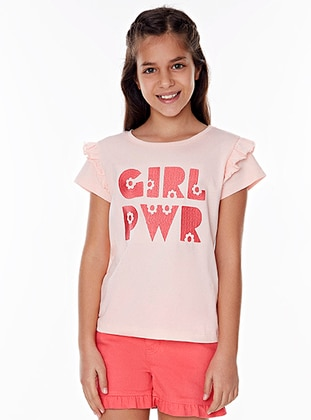 Crew neck - Cotton - Pink - Girls` Suit