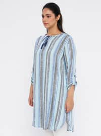 Blue - Stripe - Crew neck - Cotton - Plus Size Tunic