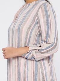 Powder - Stripe - Crew neck - Cotton - Plus Size Tunic