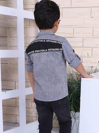 Point Collar - Cotton - Anthracite - Boys` Shirt