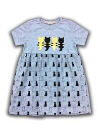 Multi - Crew neck - Cotton - Unlined - Gray - Girls` Dress