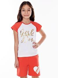 Crew neck - Cotton - Coral - Girls` T-Shirt